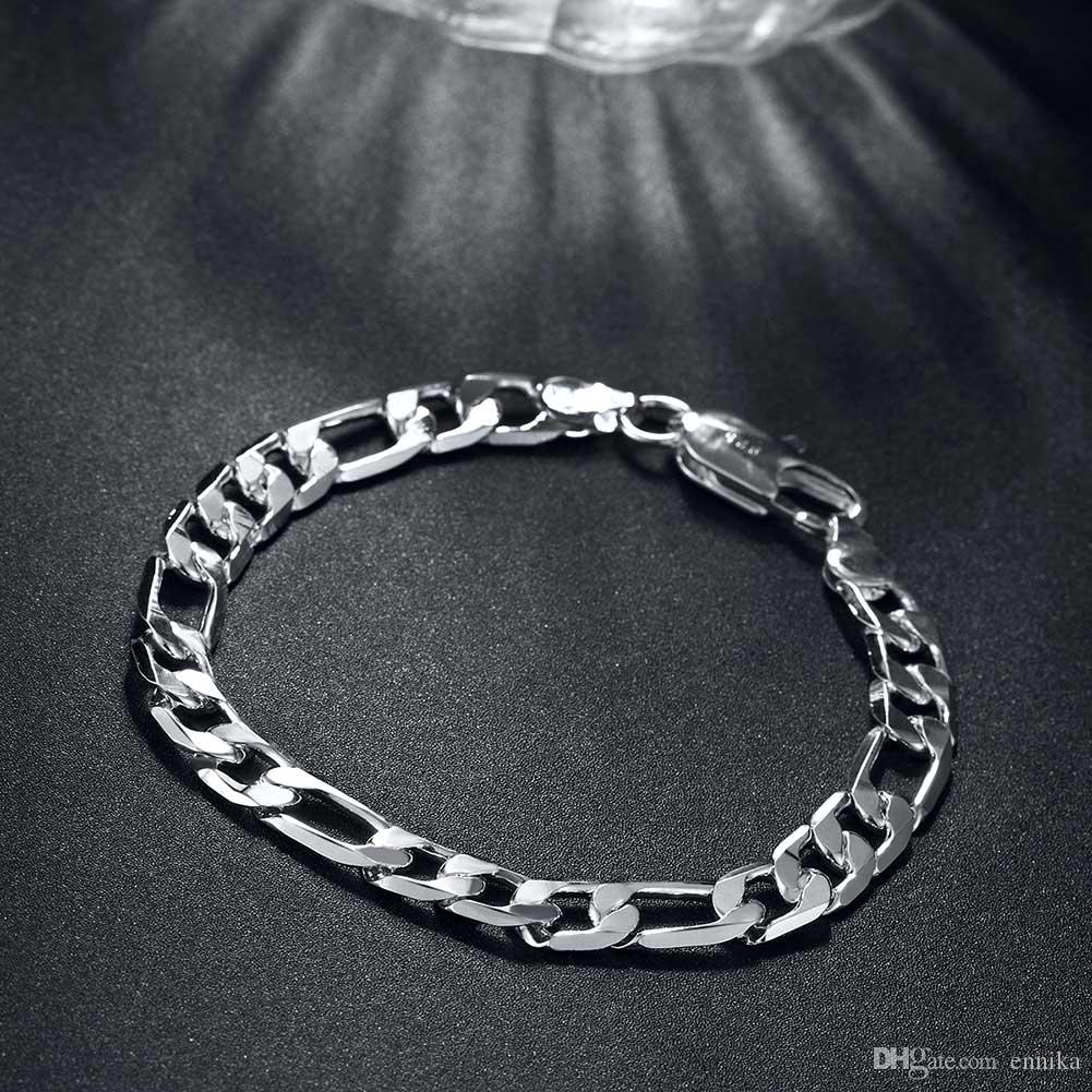 Shining New Curb Bracelet 8inch 8mm 925 Silver Men's Figaro Chains Bracelet 100% Brand New H200