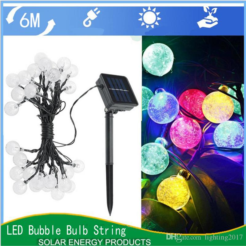 Solar String Light Waterproof Multicolour 6M 30 LED Crystal Ball for Christmas Tree Patio Lanscape Holiday Wedding Lawn Decoration