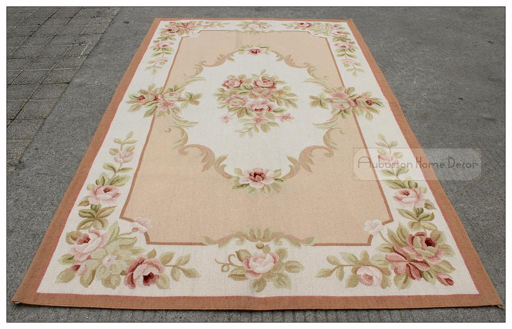 3x5 Aubusson Area Rug Shabby Chic French Pastel Pink Ivory Cream Rose Fl Wool Handmade Flat Weave Floor Carpet Whole Cardog Tile Installation