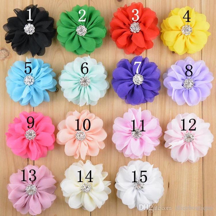 New Style Flat Back Rhinestone Kids Headdress Flower Lace Shabby Chiffon Flowers For Hair Accessories H041