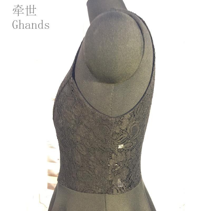 Ghands Tricoté Spandex / Dentelle JJShouse Une Ligne Jewel Court / Mini Fermeture À Glissière Plus La Taille