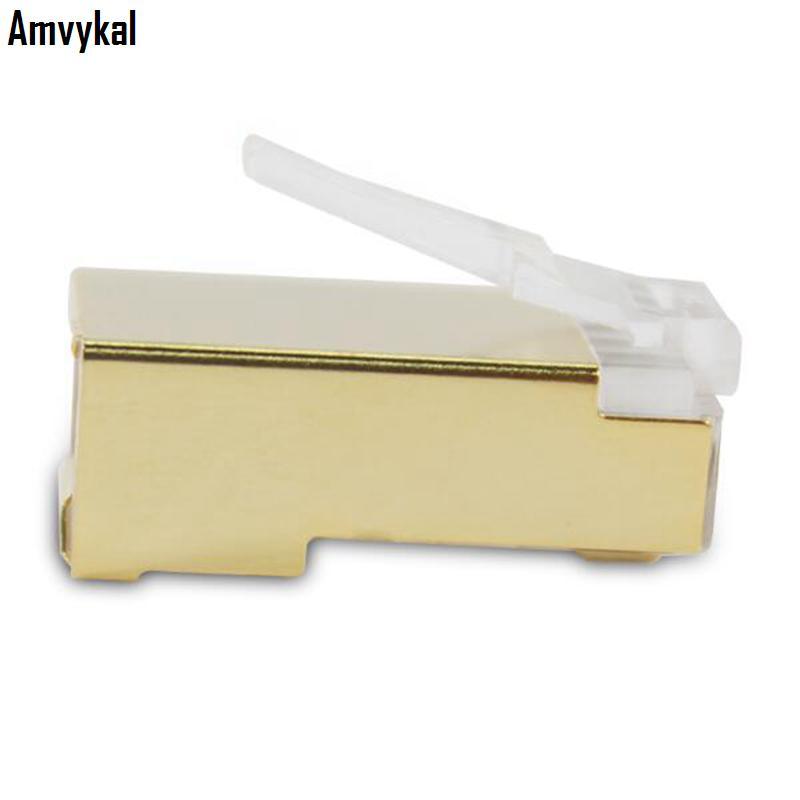 Amvykal Top Qulaity Gold Metal Shield RJ-45 RJ45 8P8C CAT5 CAT5E Modular Plug Adapter Ethernet Lan Cable Network Connector
