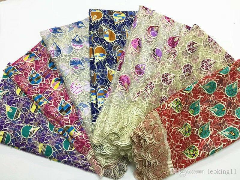 5 Mètres / pc Le plus populaire violet français net dentelle tissu avec gouttes d'eau conception africaine maille dentelle pour robe BN74-7