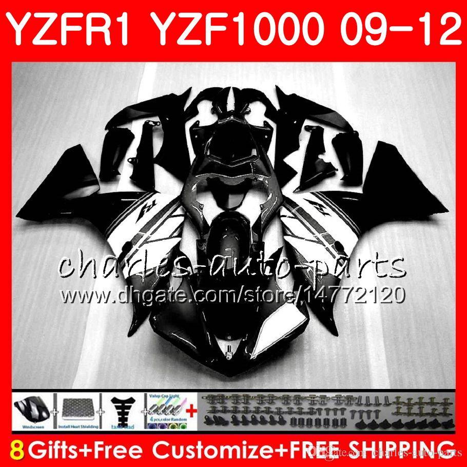 Body For YAMAHA YZF Black white 1000 R 1 YZFR1 09 10 11 12 Bodywork 85NO39 YZF1000 YZF R1 2009 2010 2011 2012 YZF-1000 YZF-R1 09 12 Fairing