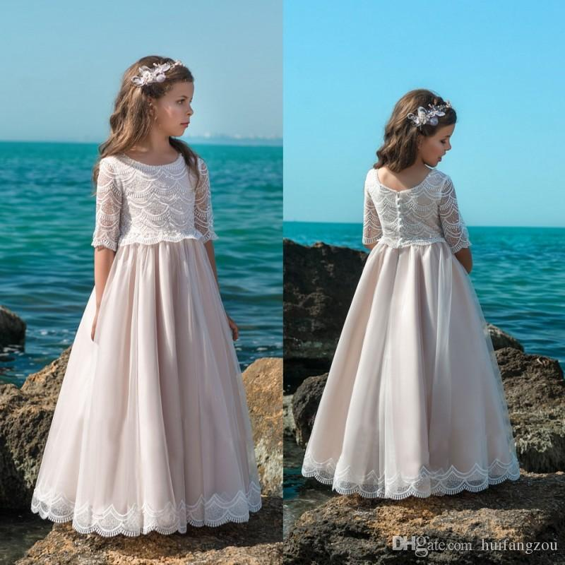 A Line Flower Girls Dress For Wedding Lace Appliques Half Sleeves ...