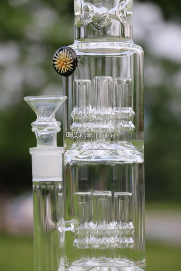 Chrysanthemum Octopus Heavy glass pipe 22mm thick CRYSTAL base water bong 1.5 Kilogram 15 Inches big smoking bubbler
