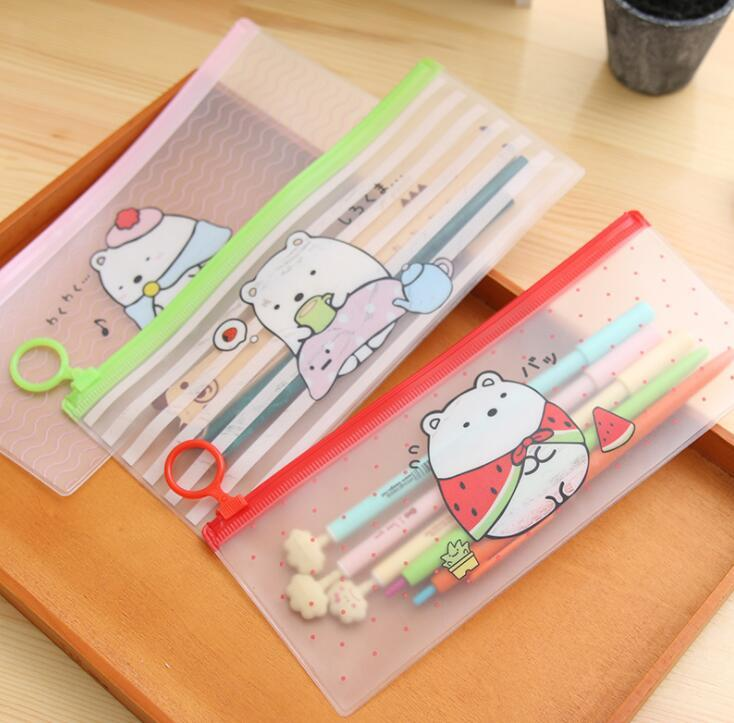 Cute Molang Rabbit Cartoon Sumikko Gurashi Stripe PVC Pencil Case Stationery Storage Organizer Bag File Folder Document Bag