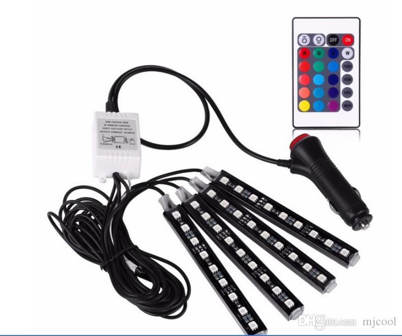Led atmosphère lumière voiture semelles intérieures lumière RGB coloré atmosphère lumière télécommande LED coloré musique rythmes lumières