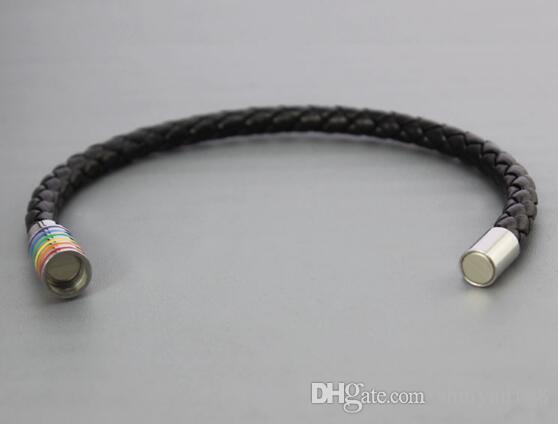 자석 레인보우 팔찌 새로운 도착 티타늄 스틸 게이 레즈비언 프라이드 팔찌 저렴한 가격 무료 배송 패션 쥬얼리