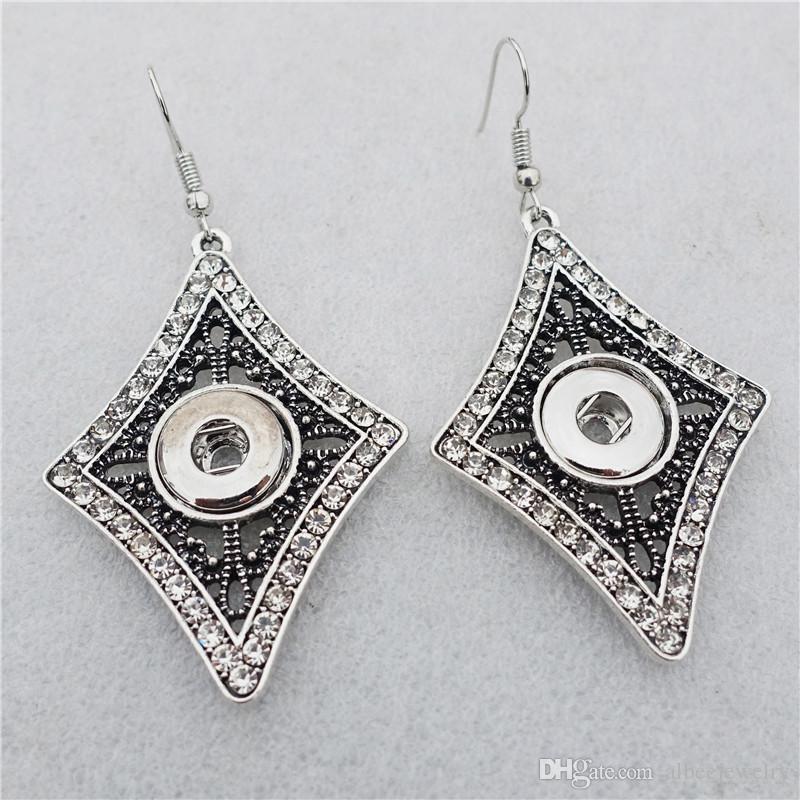 Frauen Vintage Silber Raute Strass Noosa Chunks Metall Ingwer 12mm Druckknöpfe baumeln Ohrringe Schmuck Großhandel
