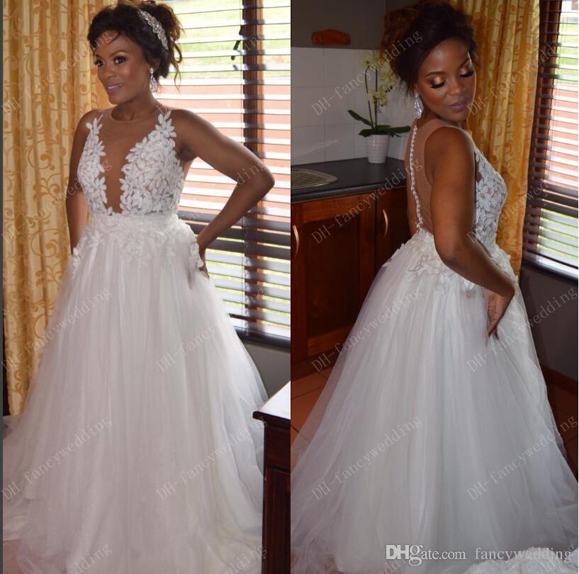 A Line White Tulle Wedding Dress 2017 Arabic Bridal: Discount Lace Cheap 2017 Arabic Plus Size Wedding Dresses