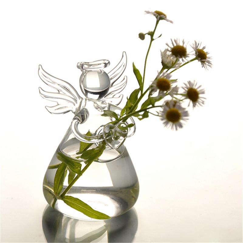 2017 Hot New Cute Glass Angel Shape Flower Plant Stand Hanging Vase