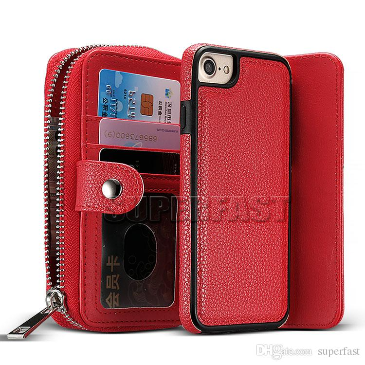 For iPhone 7 Plus Detachable Wallet Case 2 in 1 PU Leather Purse For IPhone 6 With Card Slot Case With OPP Package