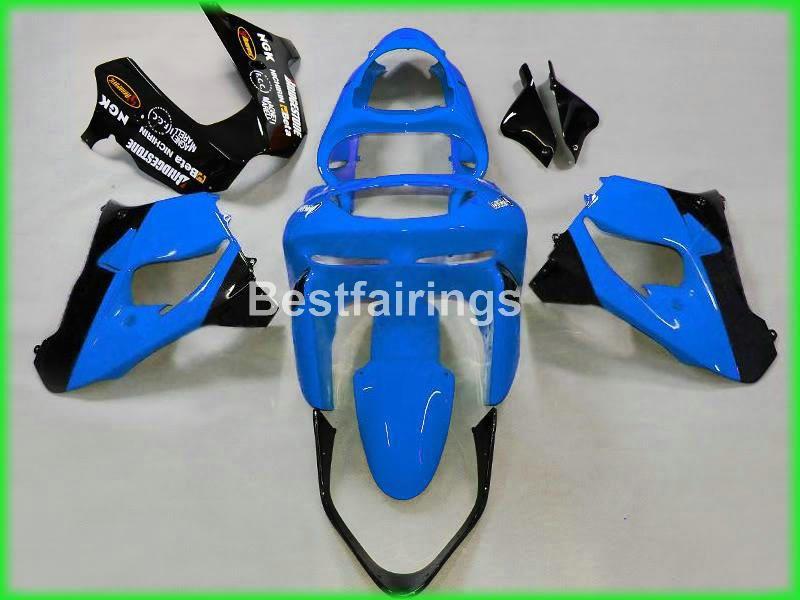 Carenature in plastica più vendute Kawasaki Ninja ZX9R 98 99 carenatura moto nero blu ZX9R 1998 1999 TY46