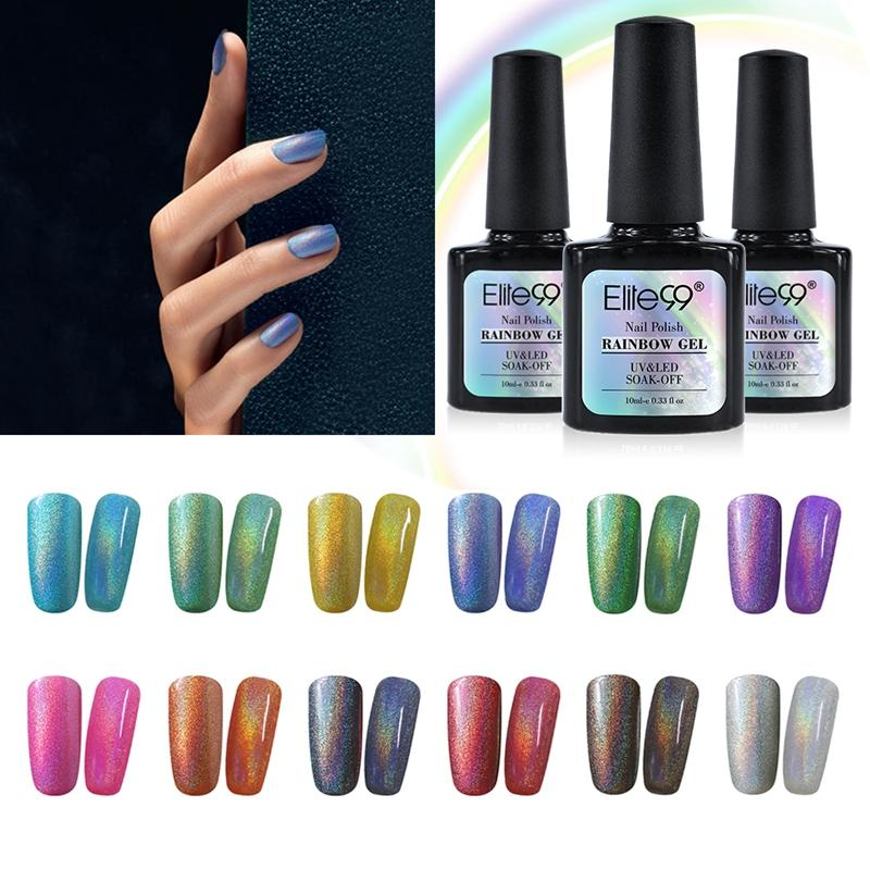 Wholesale Eliteful Rainbow UV Nail Gel With 1 Metallic Top