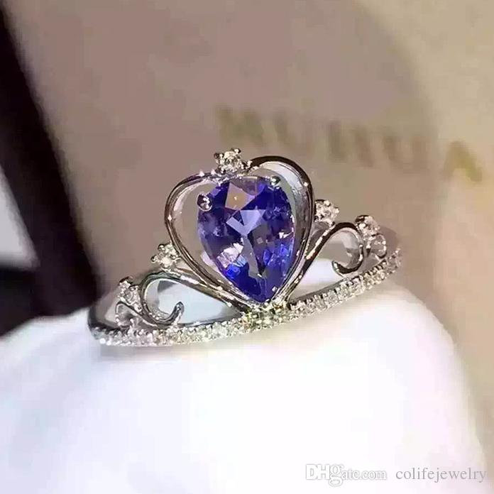 2018 nobiliary design crown wedding ring for woman 4mm6mm 05ct natural tanzanite ring solid 925 sterling silver tanzanite ring from colifejewelry - Crown Wedding Ring