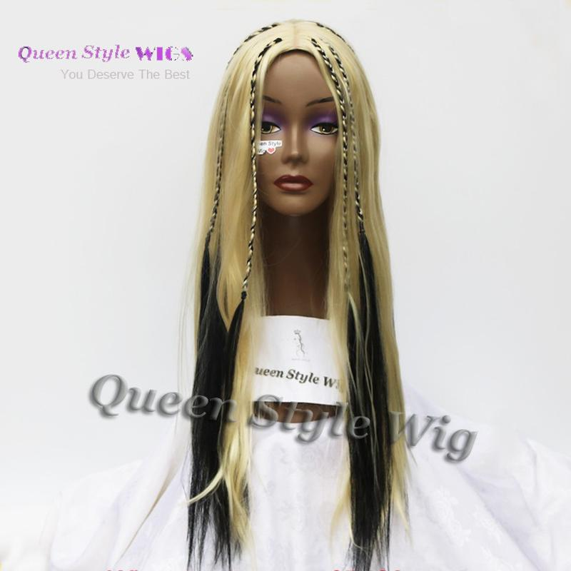 New Celebrity Kylie Jenner Christina Aguilera Hairstyle Wig Synthetic White Highlight Black Braids Hair Cosplay Wigs for Xtina Cosplay Wig