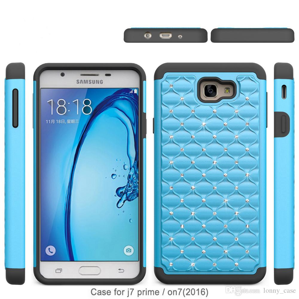 For Samsung galaxy J7 Prime on7 2016 bling diamond Starry Rubber PC + Silicone Hybrid armor rhinestone cover