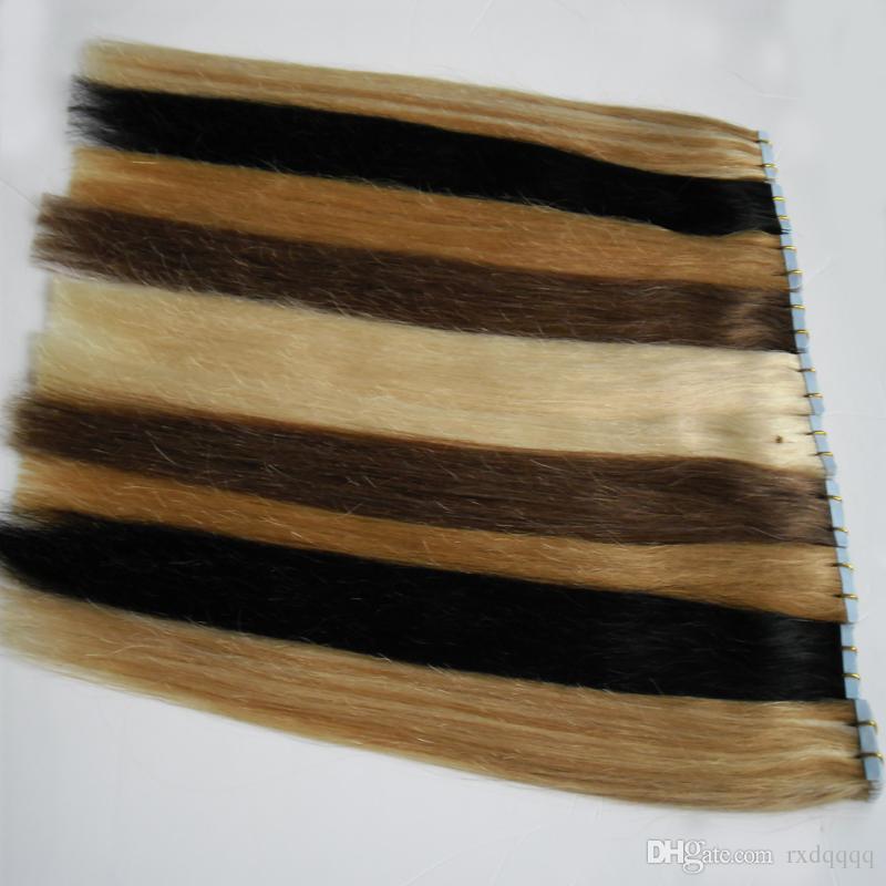 Nastro di trama della pelle dei capelli umani brasiliani nelle estensioni dei capelli 40 pezzi Biondi brasiliani Vergine Capelli vergini Remy vergini 100g
