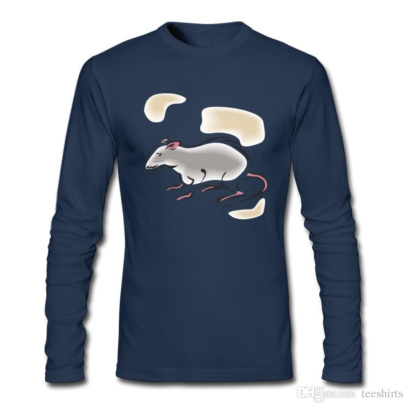 Cute Mouse Print Men's T-shirts with Long Sleeve and Round Neck Shirts For Spring and Autumn T-shirts