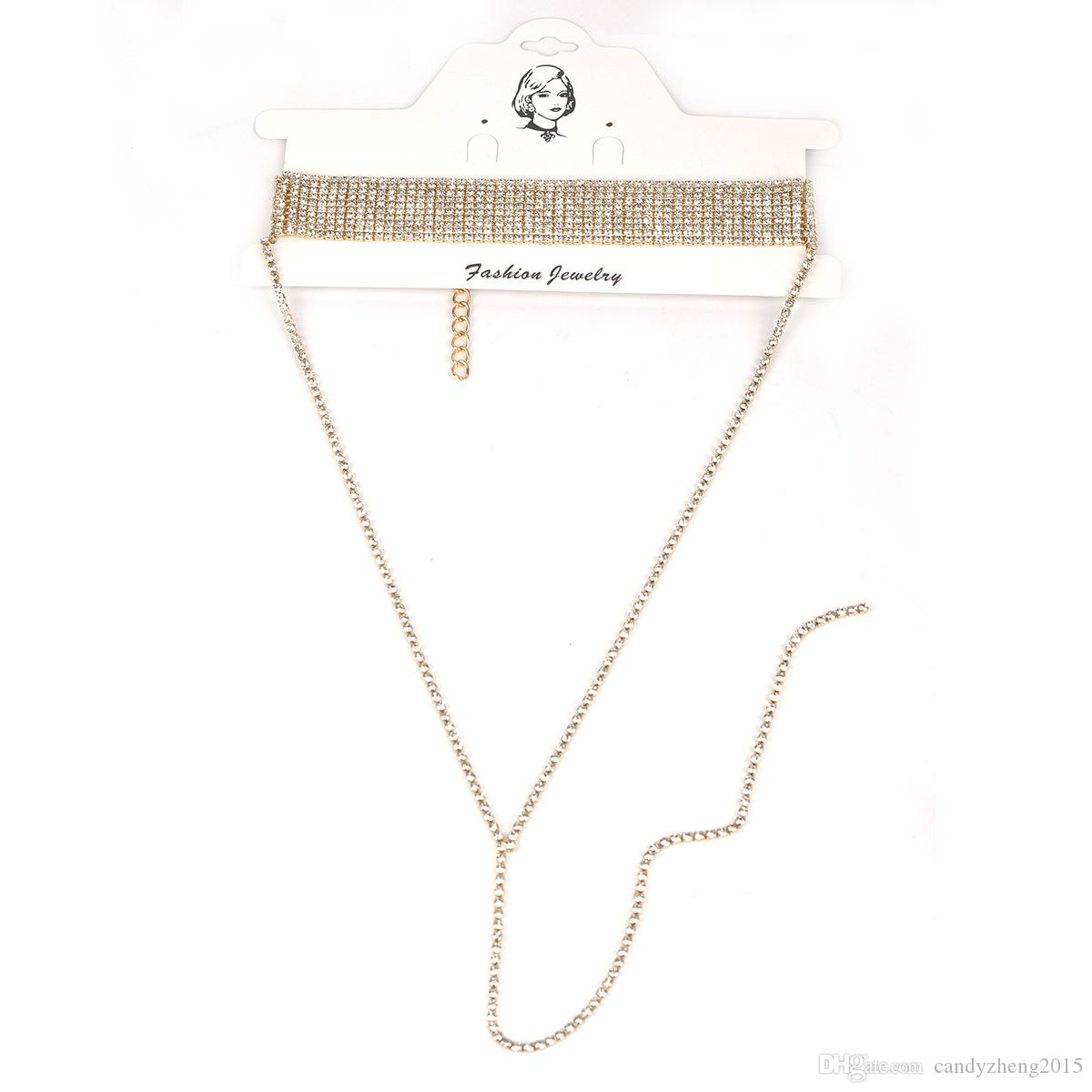 Top Quality Sexy Jewelry Metal Rough Punk chain Necklace Electroplating Multilayer Drill Man-made Diamond Choker Necklaces with Rhinestone