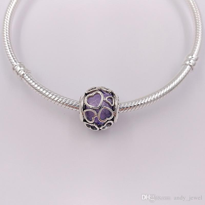 925 Silver Beads Opalescent Encased In Love Charm Fits European Pandora Style Jewelry Bracelets & Necklace for jewelry making 792036NOW