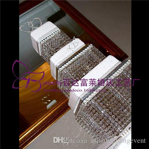 3 Tier Crystal Cake Stand Square Acrylic crystal chandelier Cupcake stand Wedding Anniversary Party Display Tools