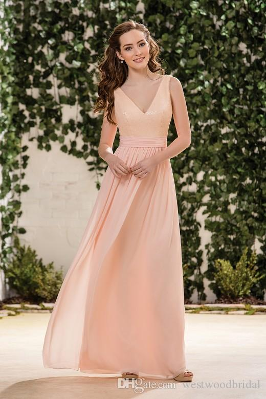 2019 Bridesmaid Dresses Nude Sequined Jasmine Prom Dresses Wedding Guest Dress Chiffon V Neck Floor Length Custom Made Evening Gown