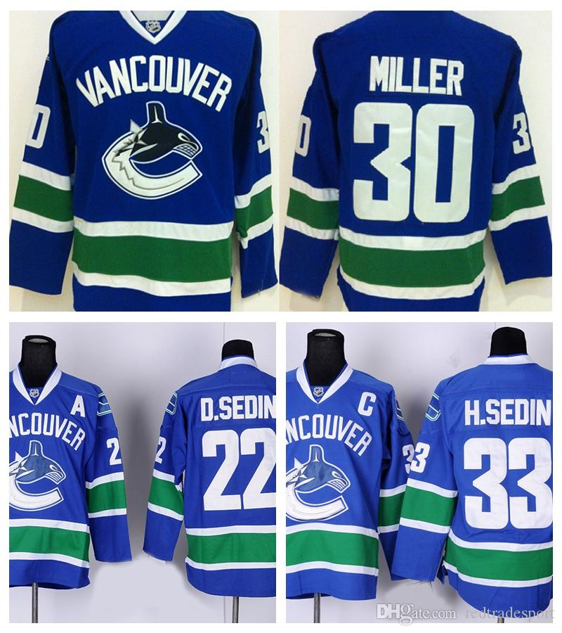 2017 mens vancouver canucks hockey jerseys 30 ryan miller 22 daniel sedin 33 henrik sedin home