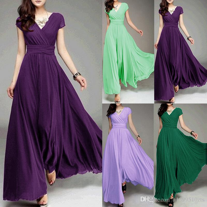 2018 Long Formal Evening Prom Sleeveless Crew Neck Party Dress ...
