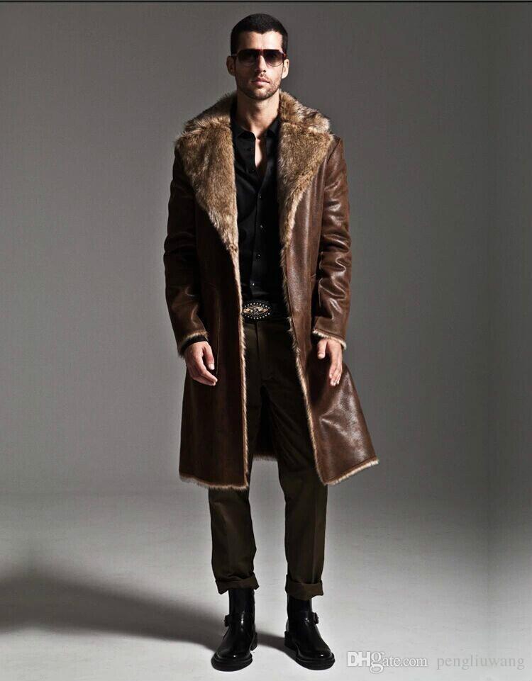 2019 Brown Warm Faux Fox Fur Rabbit Fur Coat Mens Leather