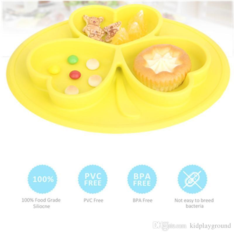2018 Eclouds One Piece Childrenu0027S Silicone Plate Non Slip Sunscreen Clover  Design Adsorption Table Baby Peace Of Mind Dining Child Plate From  Kidplayground, ...