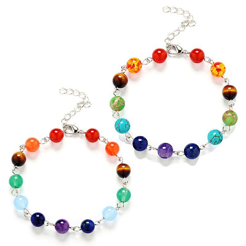 7 Chakra Healing Denge Boncuk Bilezik 7 Chakra Bilezik Akik Kaplan Gözler Ametist Kristal Doğal Taş Bilezikler 162109 nakliye damla
