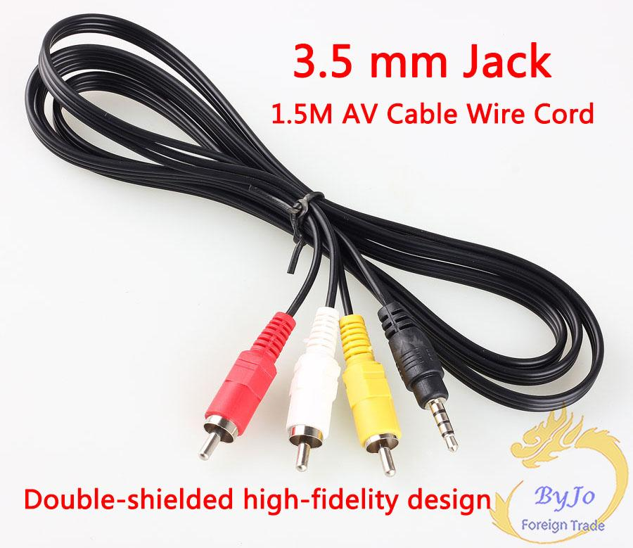 3.5 Mm Jack to 3 RCA Male Plug Adapter Audio Converter Video AV ...