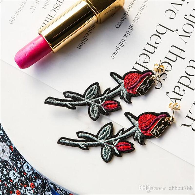 Chinese Ethnic Retro Embroidery Cloth Red Rose Flower Earrings For Women Fashion Charm Jewelry Long Dangle Earrings DH27
