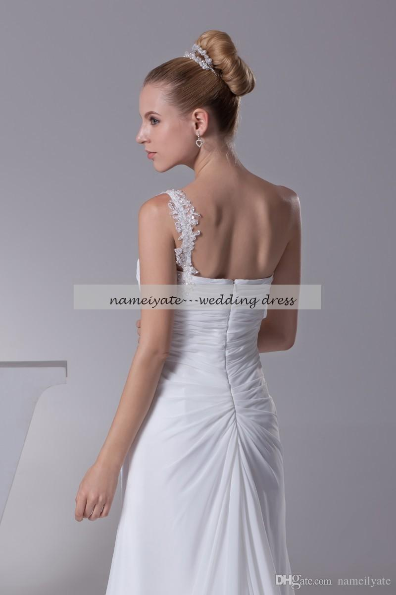 White Chiffon A Line One Shoulder Zipper Sweep Train/Brush TrainSleeveless Evening Dresses