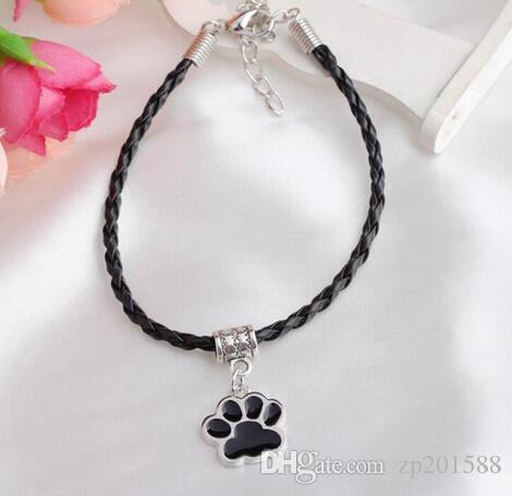 Vintage d'argent en émail Ours Chat de patte de chien Imprimer Bracelets Charms Pendentif armure en cuir braclets Bangles bijoux pour les femmes Amitié cadeau
