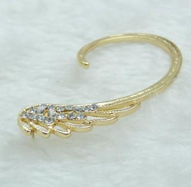 Charm Piercing Engel Flügel Strass Gold Ton Ohr Manschette Stud Manschette für Mädchen / Damen Modeschmuck