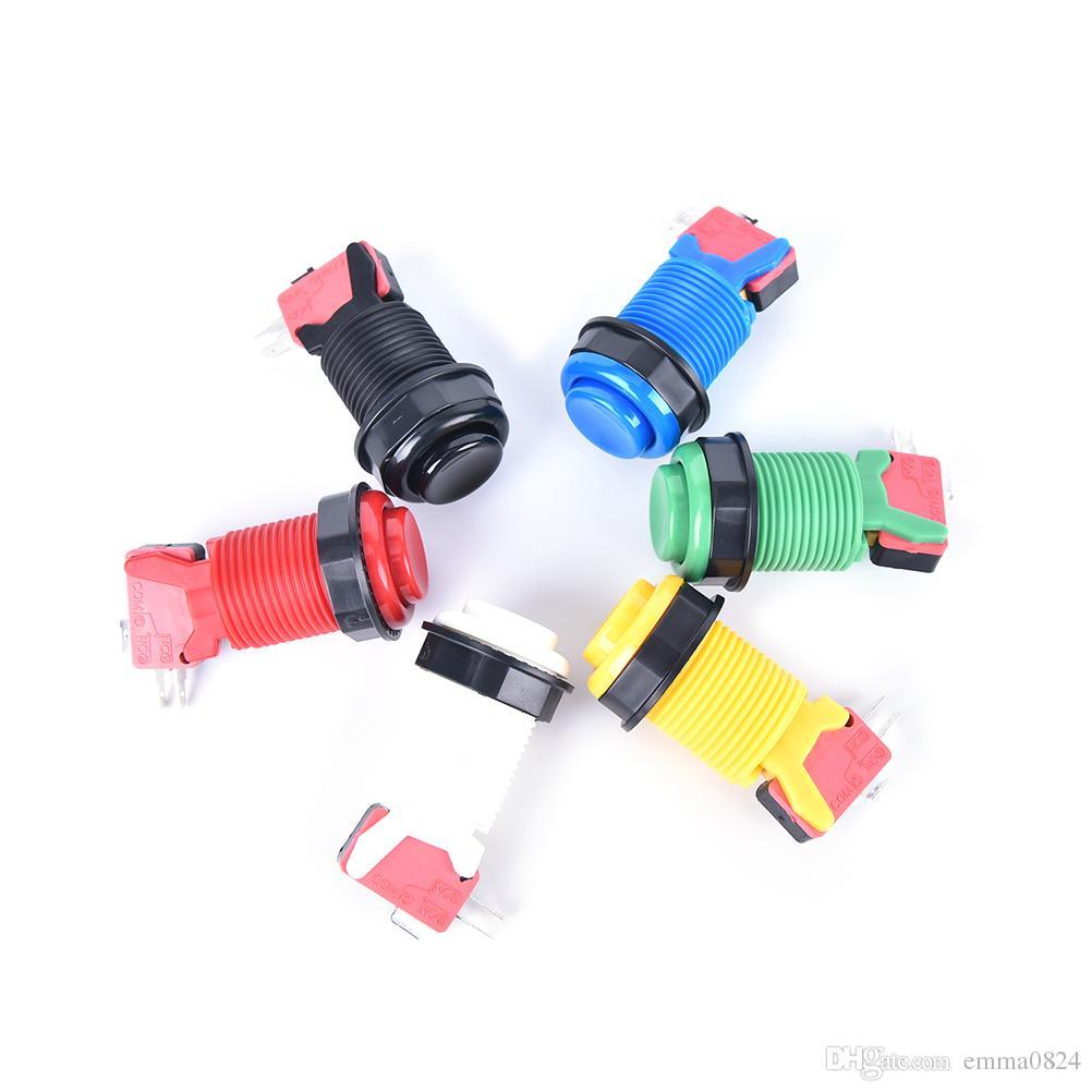 Máquina de jogo de arcada montada de 28mm Happ estilo americano longo botão de pressão com micro multi cor disponível