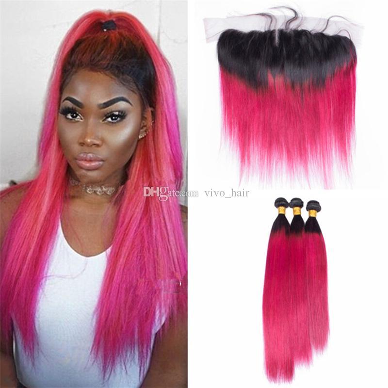 Peruanisches 1B rosa Ombre-Jungfrau-Haar bündelt mit Spitze-Frontalschließung Ombre rosa gerades Menschenhaar spinnt mit 13 * 4 Spitze Frontal