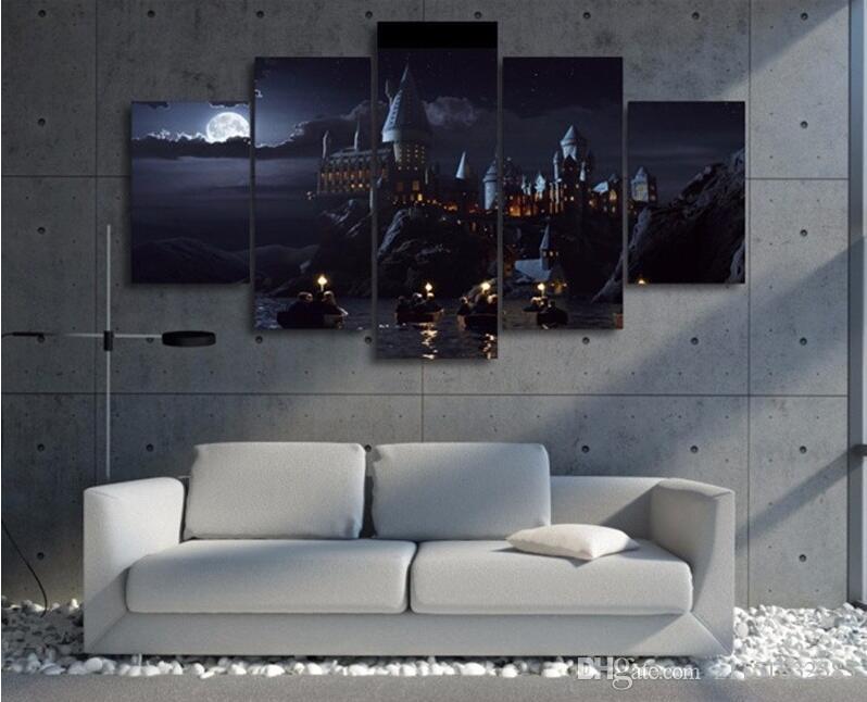 5 Stück Wandkunst Leinwanddrucke Harry Potter Schule Film Poster Wandmalerei Modularen Kunst Bild Für Wohnzimmer Wohnkultur