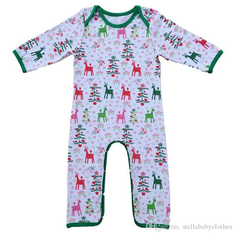 Weihnachten Baby Pyjamas Elk Printed Kids Infant Overall Mädchen Kleidung Pyjamas Heiße Verkäufe Western Girls Pyjamas