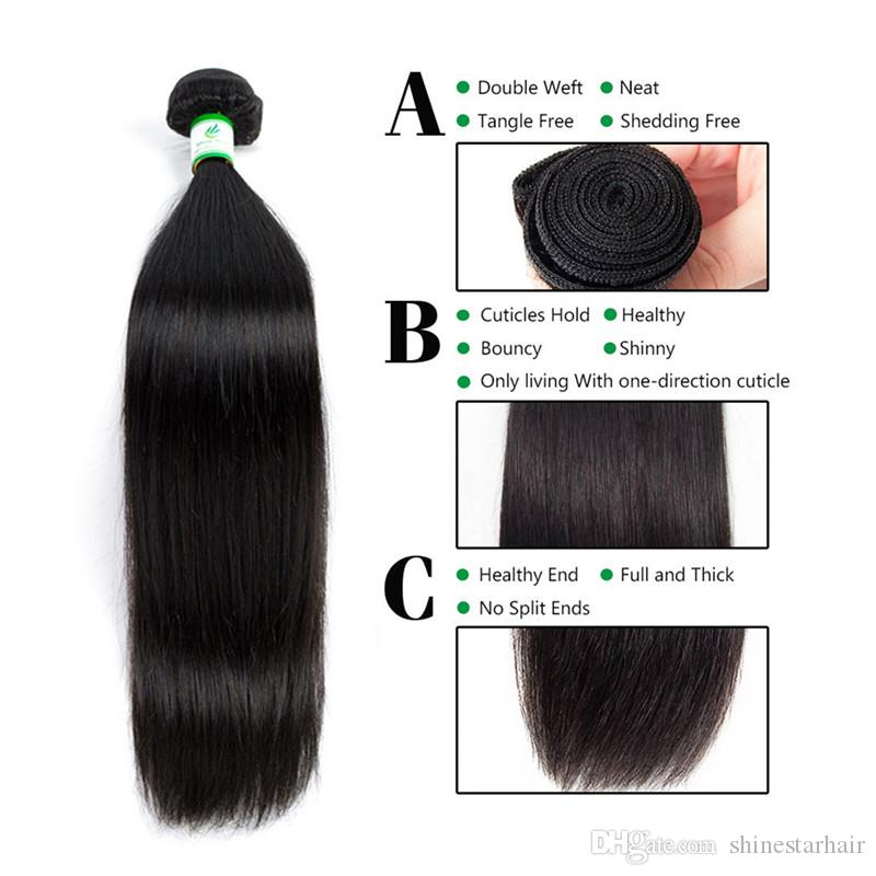 Indian Straight Virgin Hair Weaves With Closure 3/4 Bundles Unprocessed Indian Remy Human Hair With Lace Closures Free/Middle/3 Way Part