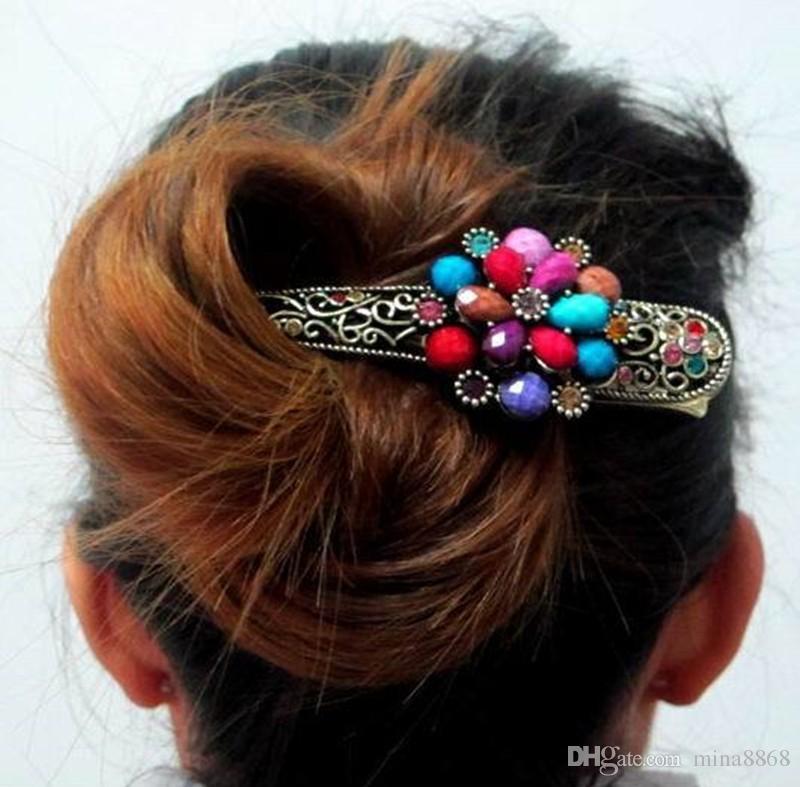 Wholesale Chinese Vintage Design Haarnadel Antike Legierung Bunte Blume Haarspangen Ornament Böhmen Haarschmuck für Weibliche Kopfschmuck
