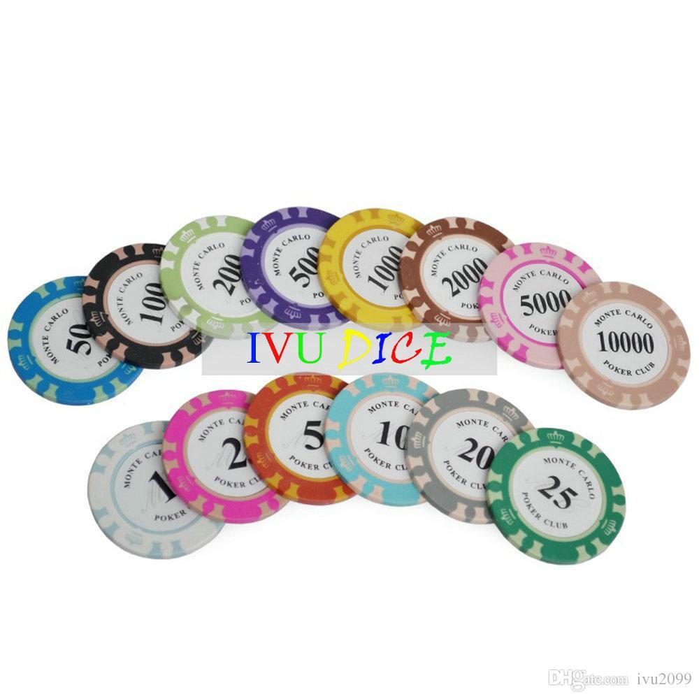 Jetons de poker de Texas Hold'em d'argile de couronne de haute qualité Jetons de casino d'ABS de fer d'argile de classique 14g IVU