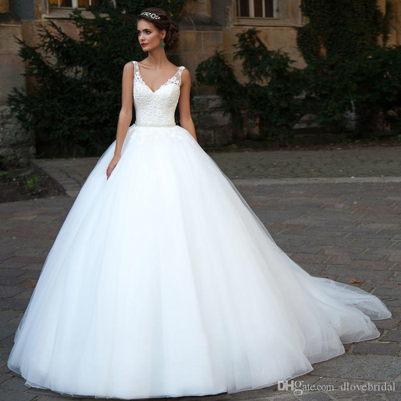 Classic Corset Ball Gown V Neck Wedding Dress High Quality