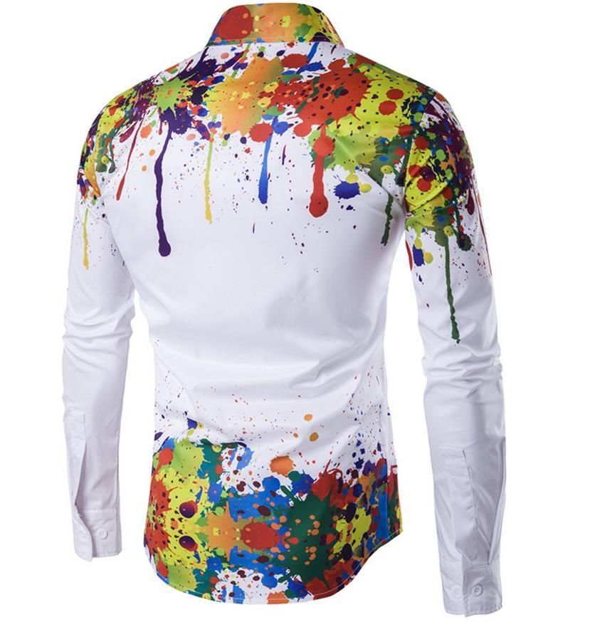 Stampa 3D camicia uomo spalla e orlo parte dell'inchiostro stampato disegno pulsante Button manica lunga abbassa collo collare Slim Fit Camicie uomo libera la nave