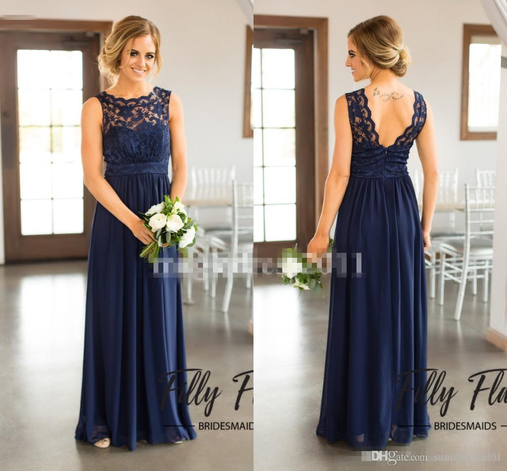 2017 Navy Blue Lace Bridesmaid Dresses for Country Wedding A-Line Jewel Long Chiffon Bohemian Summer Beach Wedding Party Evening Dresses