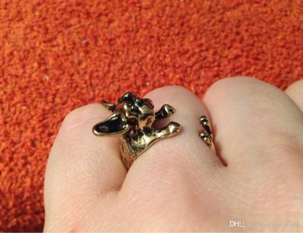 2017 Retro Tier handgemachte französische Bulldogge Ring Ring Mode Antik Gold Silber Vintage verstellbare Ringe für Frauen
