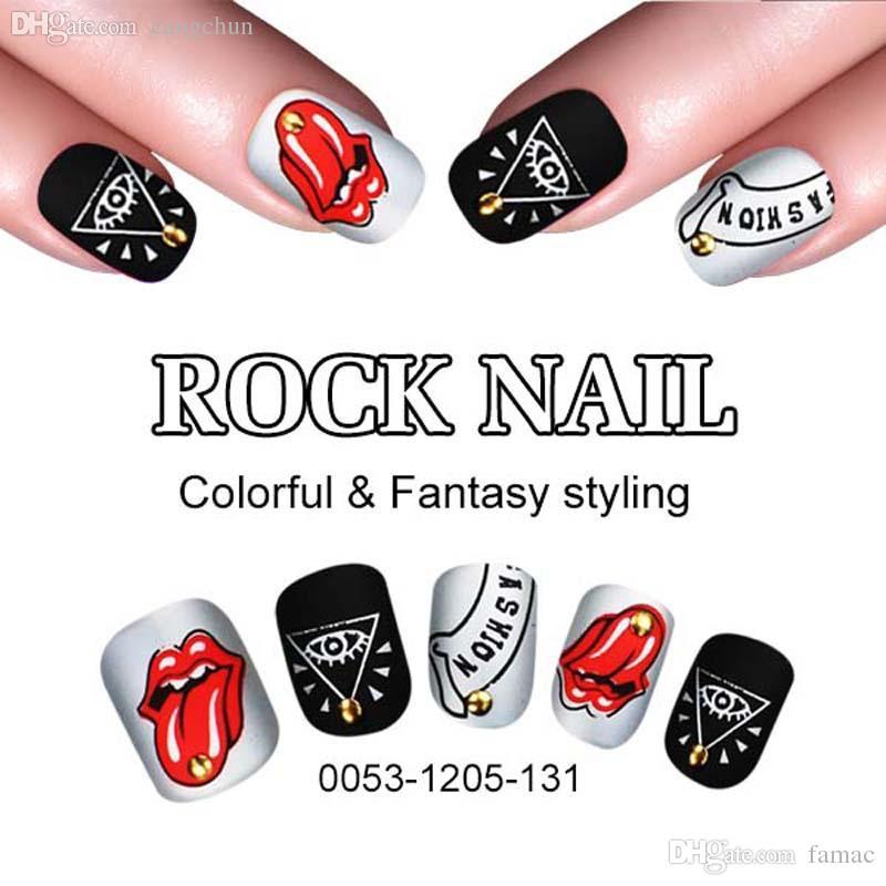 Wholesale Rock Fake Nail Tips Rock Shining Artificial Nail Art ...